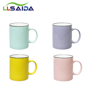 Eco-friendly Color Glazed Ceramics Coffee Cup New Bone China Enamel Mug