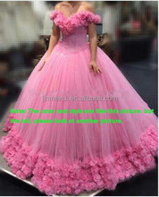 2017 High quality Pink Sweetheart Blush Pink Tulle Puffy Bridal Gowns Floor Length Crystal Beaded Ball Gown Wedding Dresses