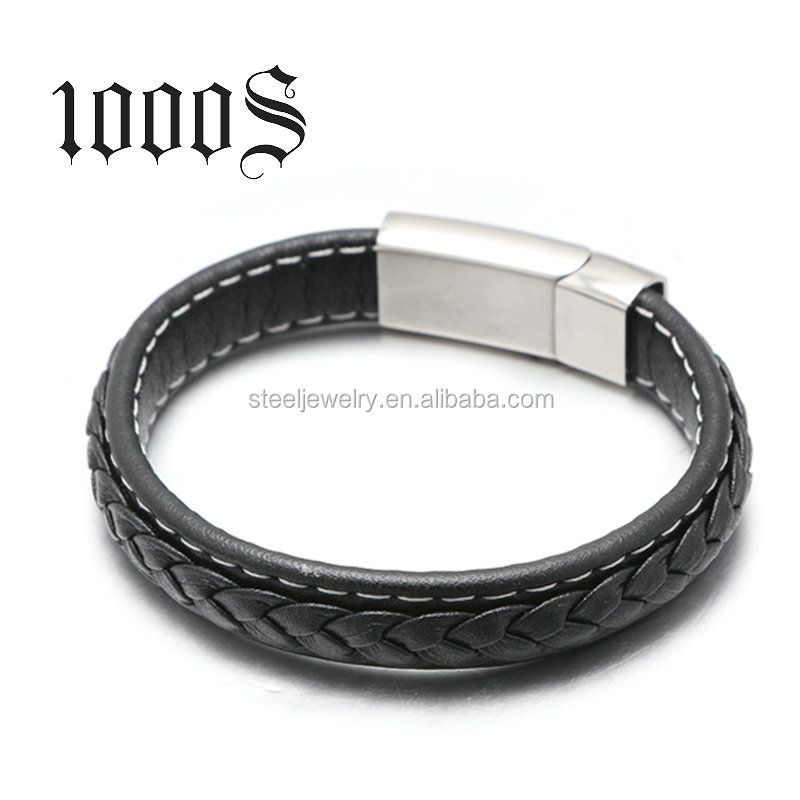 Fashion Stainless Steel Mens Leather Bracelet Wholesale,13 Years Gold Supplier
