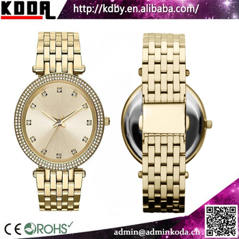 luxury brand watch stainless steel back case gold wrist watch