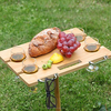 Bamboo wine and snack table for picnic outdoor