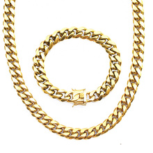 PVD Plating Stainless Steel Miami Cuban Link 14k Gold Chains