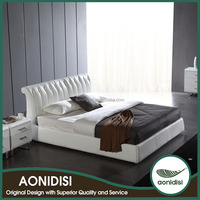Modern White PVC Bed Frame with Storage