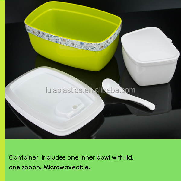 Premium Quality Large size FDA Plastic PP Box Container for Food with Separate Bowl and Spoon