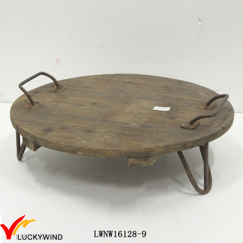 Upcycle Wood Round Serving Tray with Iron Handles