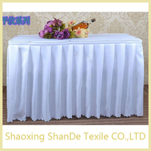 rufulled rectangular polyester different designs of table skirting