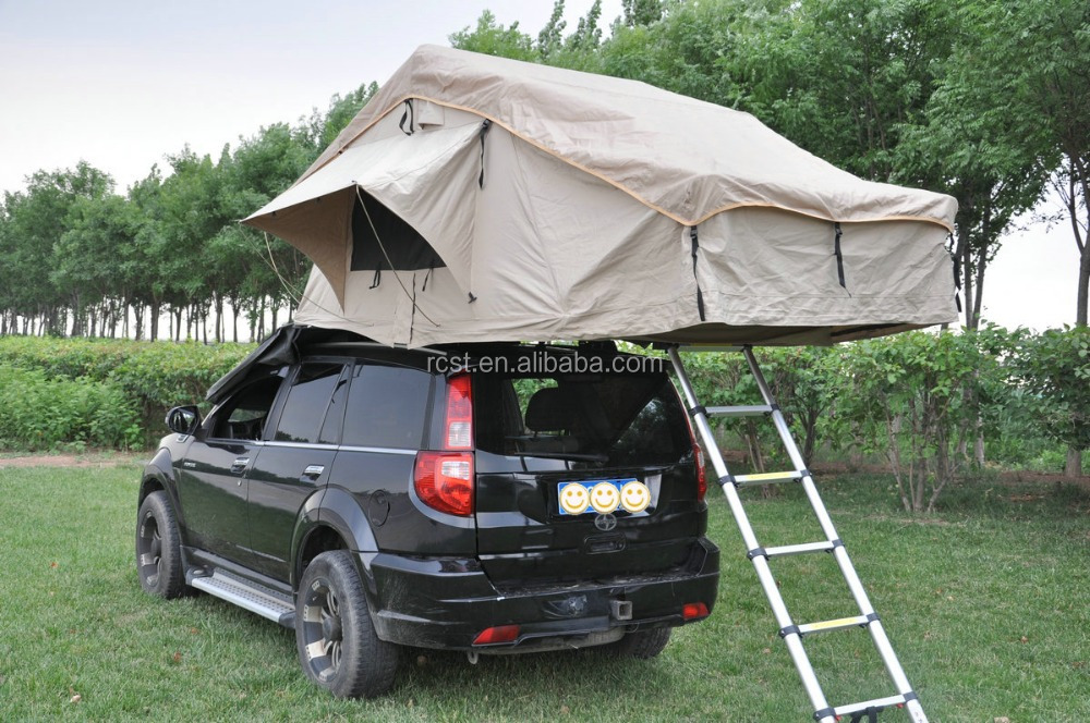 4-Person Canvas Roof Top Tent for 4WD Offroad Fishing Camping Canopy