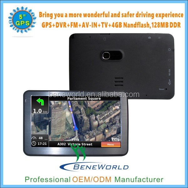 5 inch win ce 6.0 gps 128mb ram 4gb rom with BT FM AV in TMC ISDB-T function