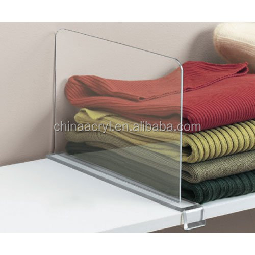 Clear bag clothes dividers for shop custom closet acrylic shelf dividers