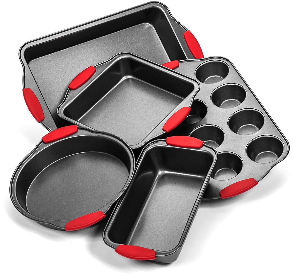5 piece silicon handle bakeware set baking tools with silicon grips