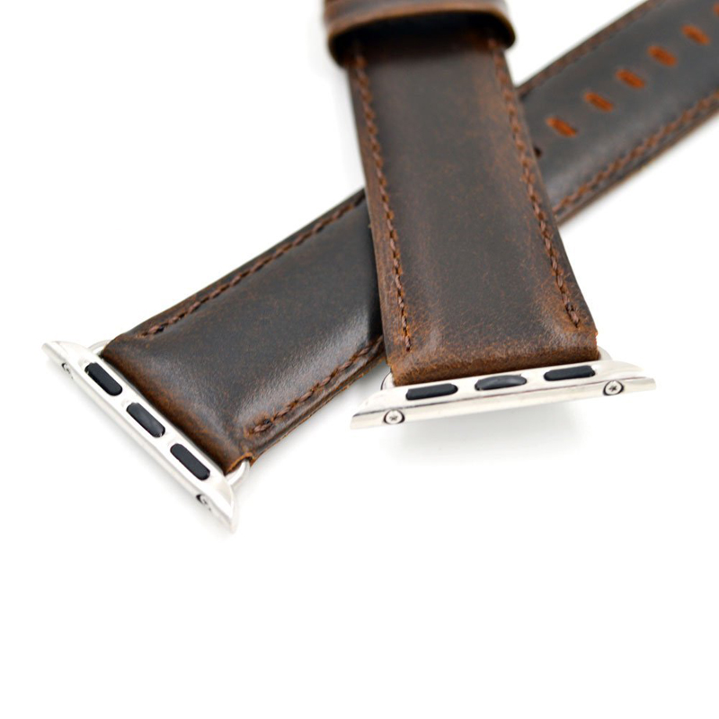 Amazon Hot Selling For Apple Watch Crazy Horse Genuine Leather Watch Strap Band with Adapter