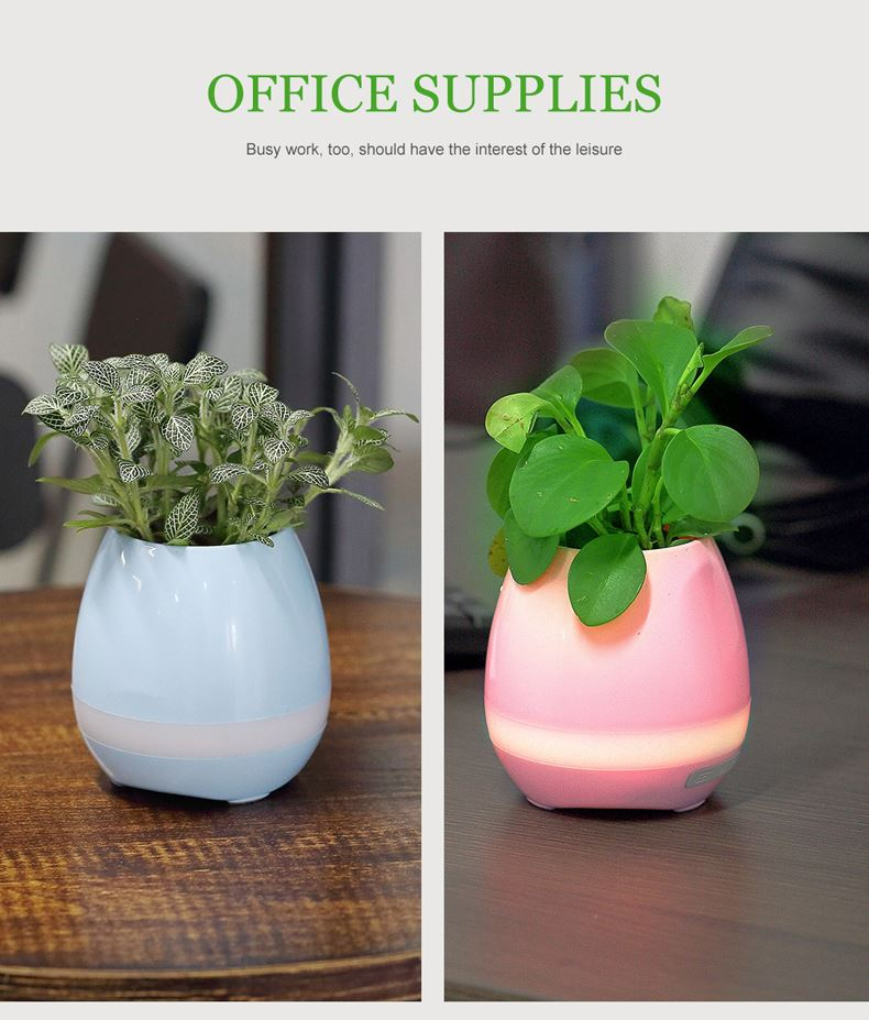 LED Touch Smart Bluetooth Music Flower Pot Speaker For Home Office Decoration