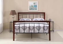 Wood Legs Black Double Metal Frame Bed