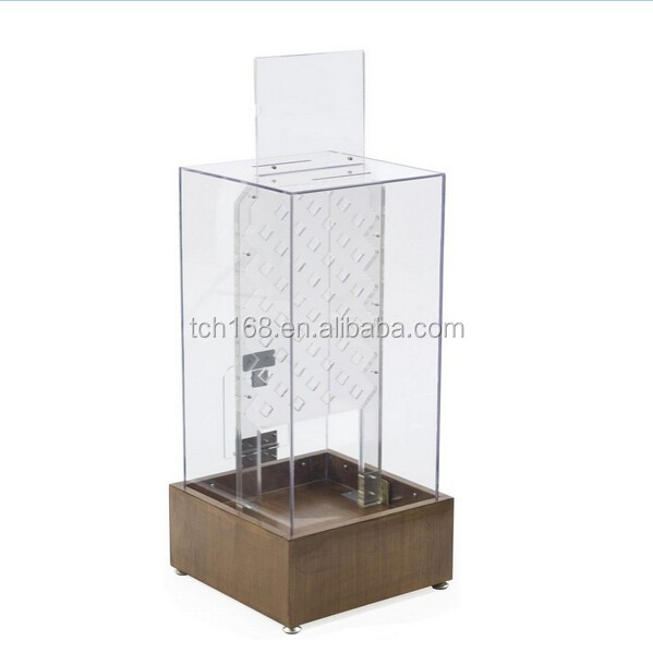 Large Tall Acrylic Donation Box /suggestion/ Ballot box for Charity, with Coin Drop Game and Sign Holder with Wood Base)