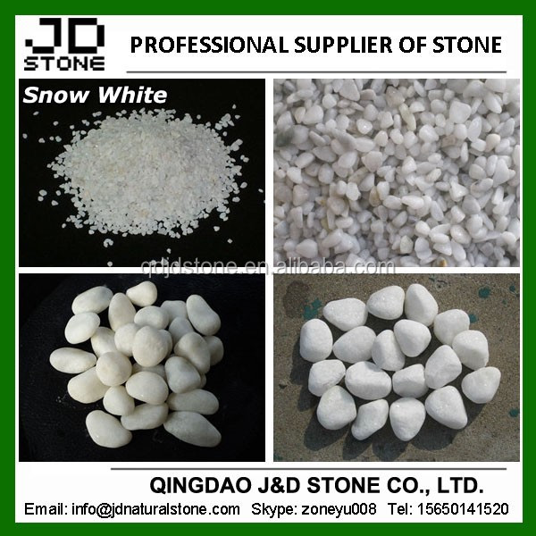 Snow white pebbles and gravels/ White rocks landscaping