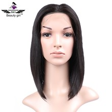 china manufacturer BOB wig virgin brazilian hair short middle part lace front wigs