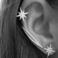 2016 Hot Wholesales New Fashion Earrings Retro Punk Crystal Ear Cuff Earring Wrap Clip On for Girl Ear Women Earrings For Gifts