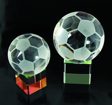 Crystal Soccer Ball Trophy With Rainbow Base
