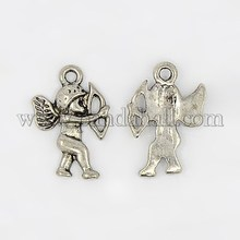 Tibetan Silver Jewelry Angel Cupid Necklace Pendant 300Pc/Bag(EDD021Y-NF)