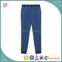 ladies fashion denim blue washed cotton french terry loose jogger pants 2016
