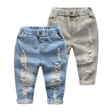 New Arrival Spring Kids Fashion Baby Boys Cool Jeans 2 Colors Ripped Jeans Elastic Soft Jeans High Quality Wholesake Q0788
