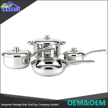 High quality fry pan casserole 7pcs cookware set stainless steel with glass lid