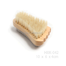 Natural Bamboo Schima Superba Two-Sided Cute Wood Nail Brush With Pumice Stone