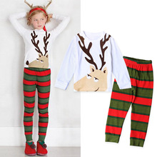 Autumn Winter Baby pajamas outfit toddler clothing boys' sleepwear Long Sleeved Coveralls Animal Christmas T-shirt+Pants Set
