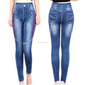 Ladies sexy seamless slim fake jean denim pant