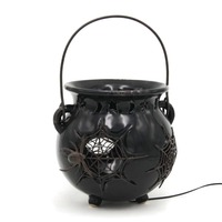 Ceramic Halloween Bucket With Antique Spider Webs, Halloween Props With Led Lights