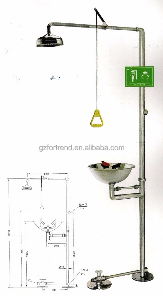 Stainless steel Combination Emergency shower eye washer for lab