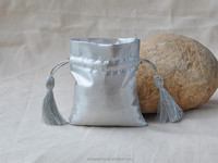 Silver Small Size Polyester Drawstring Bag Gift Packaging Pouches with Tassel