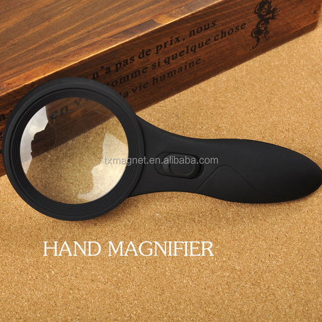 Factory sell 6pcs LED light hand free magnifying glass for calculating