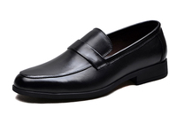 Juqian customize high end quality slip on shiny black genuine leather school shoes man