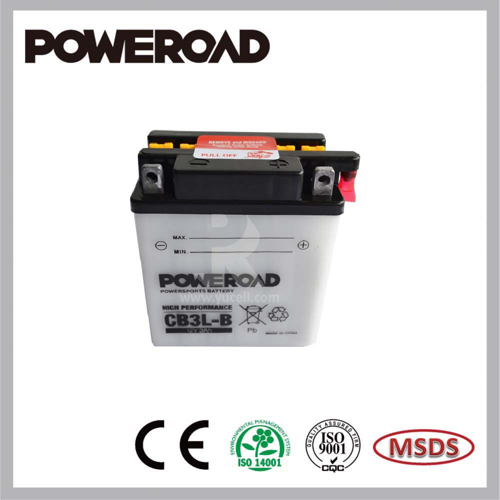 Poweroad Yumicron high performance dry charged motorcycle battery YB3L-B