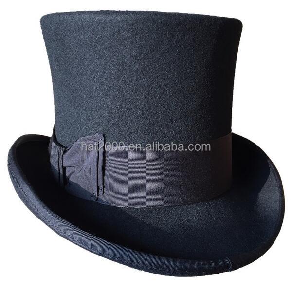 Black 18.0cm (7 inch) Wool Fedoras Gentleman Steampunk Groom Wedding High Top Hat