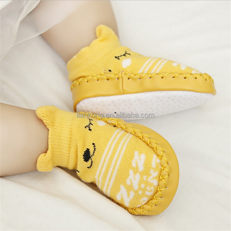 Korean version of the new baby children's footwear stereo anti-skid floor socks Cartoon leather socks
