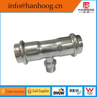 Food grade ss pipe fit male threaded tee press fittings