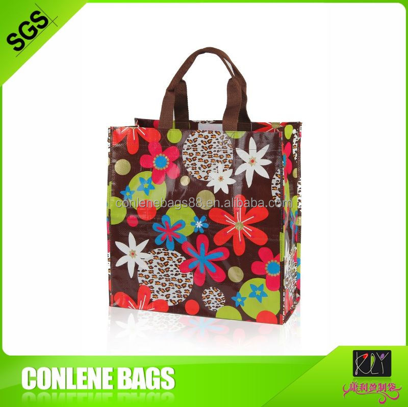 Green color printed pp woven bag plant