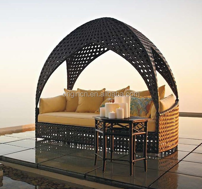 Unique indian style sunbed with octagonal pattern and vaulted canopy rattan garden furniture