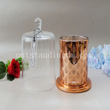 geometric glass lantern in copper candle