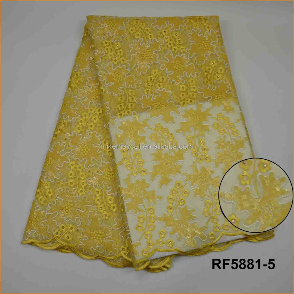 RF5881-5 mesh embroidered fabric sequin embroidered fabric/african yellow organza lace for wendding dress