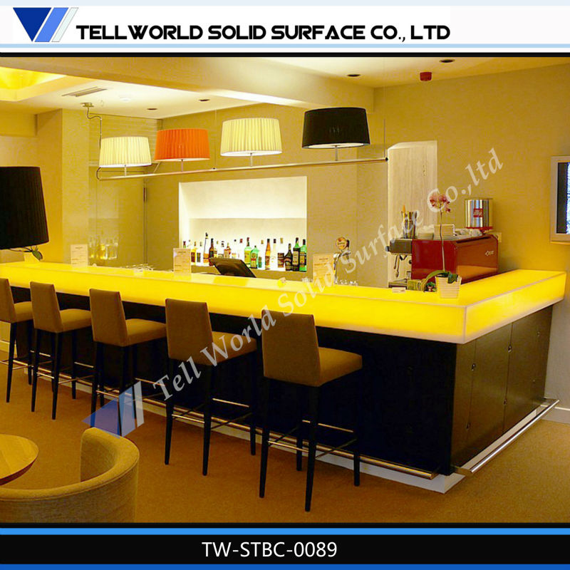 L-shape yellow LED lighting top acrylic solid surface modern wood wine bar