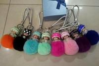 Wholesale price rabbit fur accessories monchhichi leather keychain fur pompoms