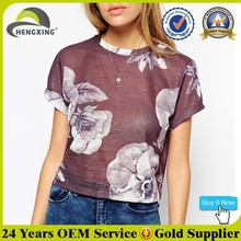 Sexy Short Sleeve All Over Sublimation Printing T shirt Women