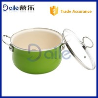 Green enamel cookware casserole set with stainless steel handle