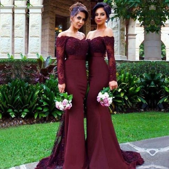 BL091 Burgundy Mermaid Long Bridesmaids Dresses 2017 Appliques Party dress Long Sleeve Prom Party dresses