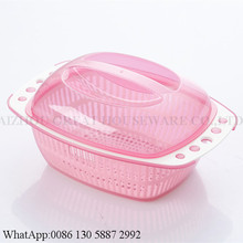 eco-friendly recentage fruit storage plastic wash basket with cover