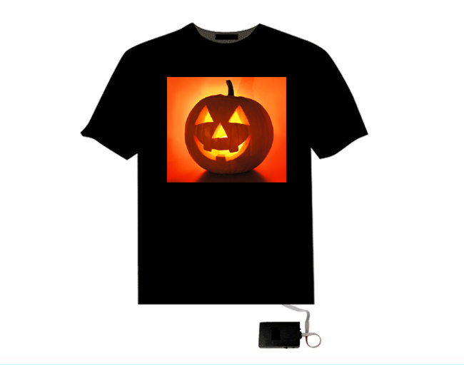 EL flashing t shirt/ t shirt for halloween or chrismas made in chinese factory