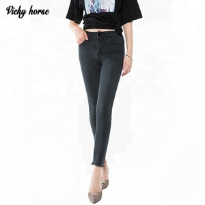 Cheap dark color sexy women tight denim jeans pants